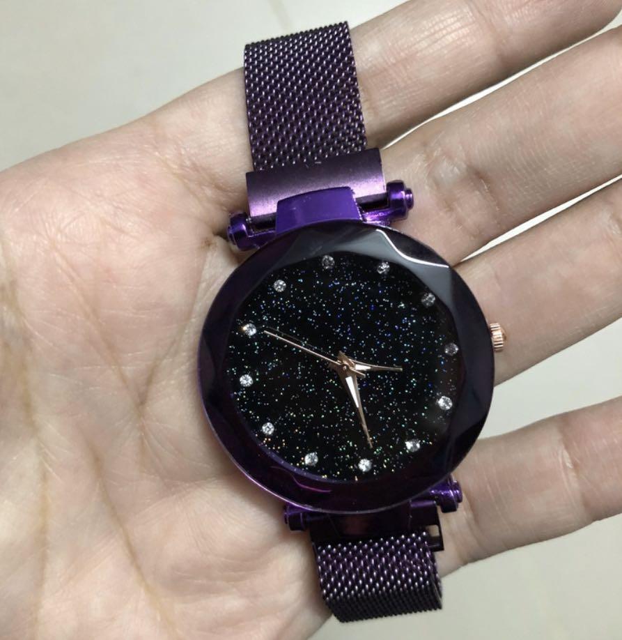 Luxury starry sky watches women bracelet rhinestone quarts watch ladies thin steel magnetic buckle wristwatch