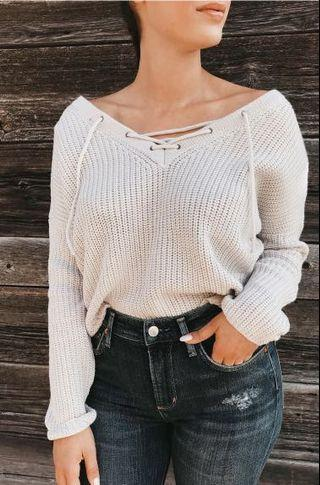 Mendocino Lace Up Knit Sweater