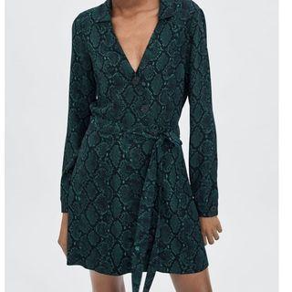Zara Green Snake Print Dress