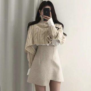 韓國 高領麻花紋針織毛衣+不規則下擺短裙