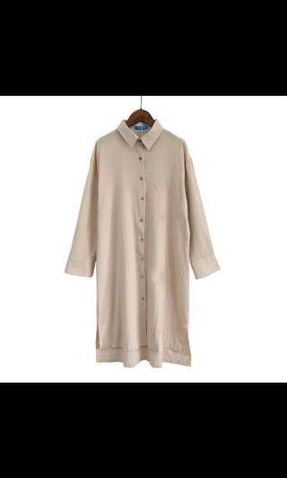 兩件套 奶茶色溫柔連身襯衫+咖啡色吊帶背心組合