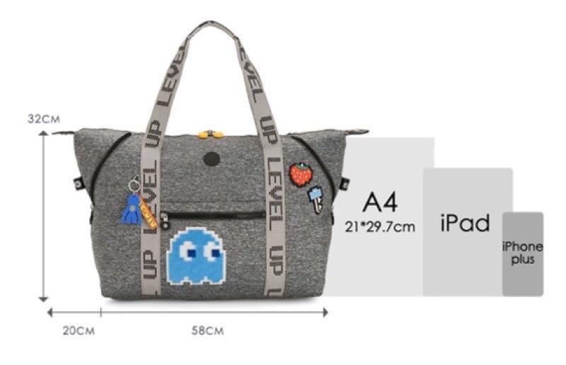 2020Kipling春夏聯名款 PAC-MAN限量系列 手提側背包-ART M