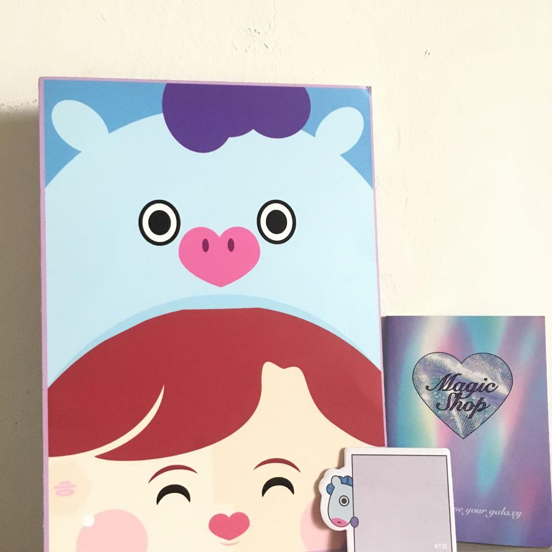 BTS BT21 mang A4 paper file set with notebook and sticky note
