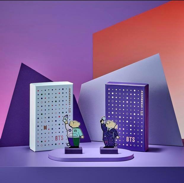 BTS X STARBUCKS - BEAR KEYCHAIN CARD & MOOD BOMB LIGHT Official MD