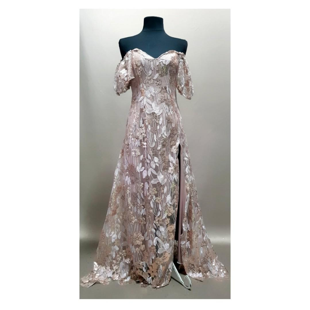 Champagne Gold Gown Bridesmaids Wedding Gown Bridal Guest Mother Of Bride Evening Dusty Rose Gold Nude Long Gown Prom Ball Party Custom With Slit Women S Fashion Clothes Dresses Skirts On Carousell,Audrey Hepburn Sabrina Wedding Dress