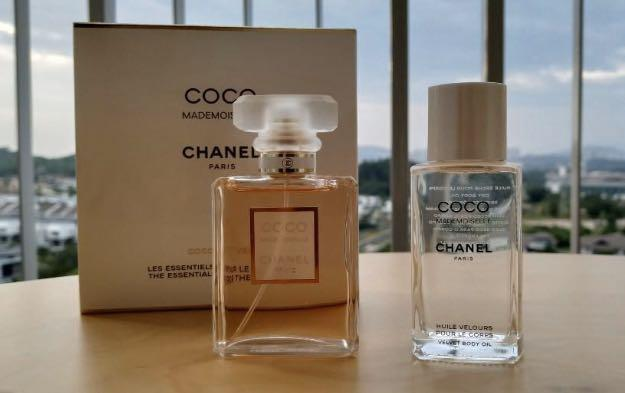 Chanel coco Mademoiselle the essentials for weekend set 35ml Edp 50ml velvet body oil