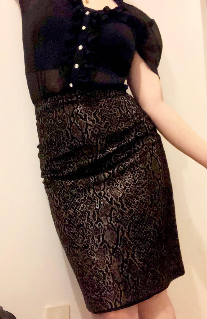 Danier Leopard print real leather midi skirt - size 2