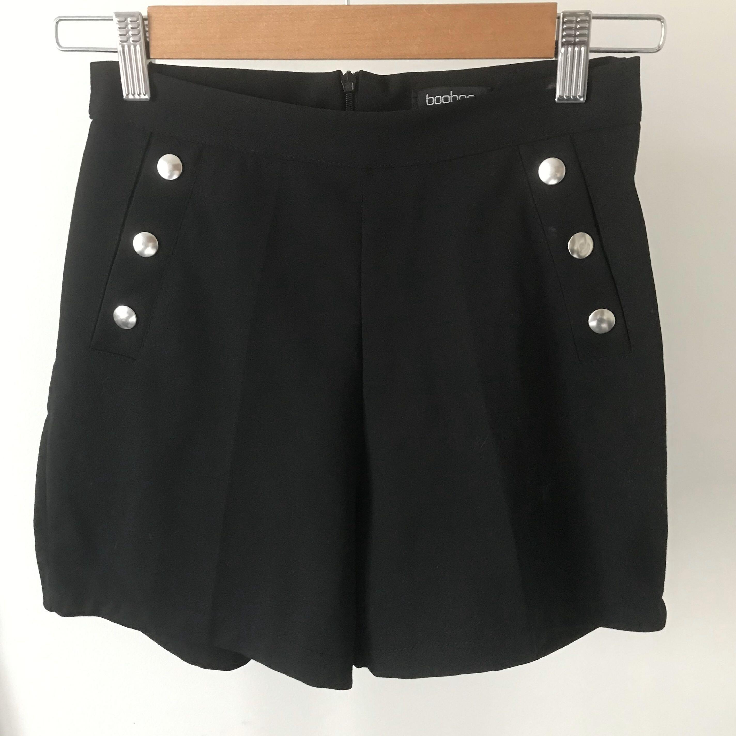High Waisted Black Shorts with Silver Buttons and Zip - size 8