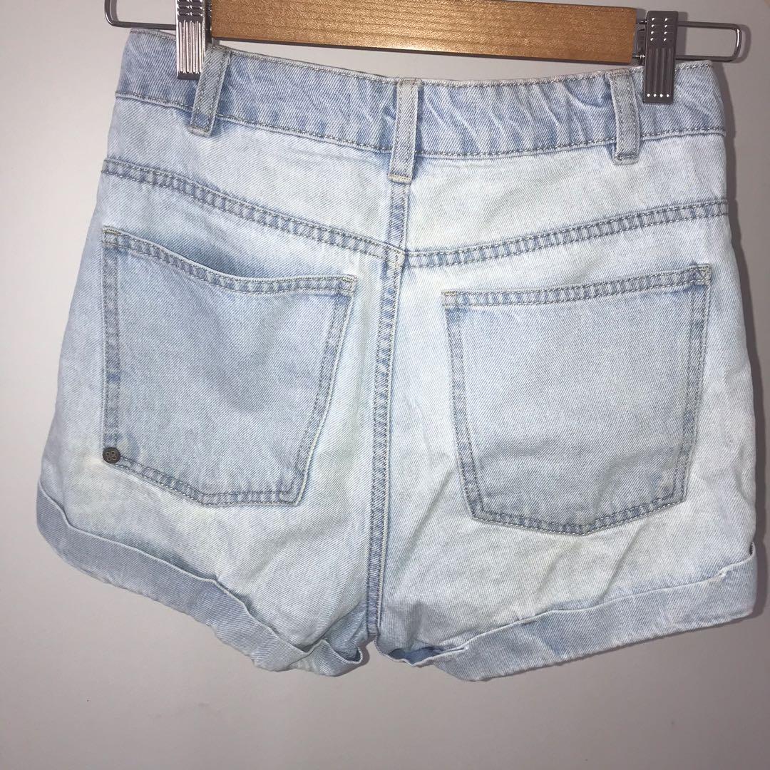 High Waisted Light Wash Blue Denim Shorts - size 8