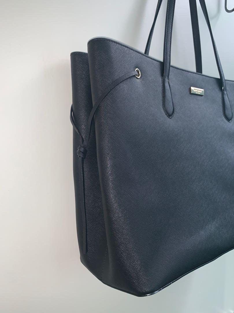KATE SPADE Ari Laurel Way Black Saffiano Leather Shoulder Bag Tote - X-Large
