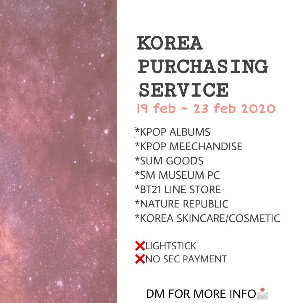 KOREA PURCHASING SERVICE 🇰🇷(EXO BTS BT21  GOT7 BLACKPINK SUPER JUNIOR TWICE NCT SUPERM RED VELVET X1  GOT7 )