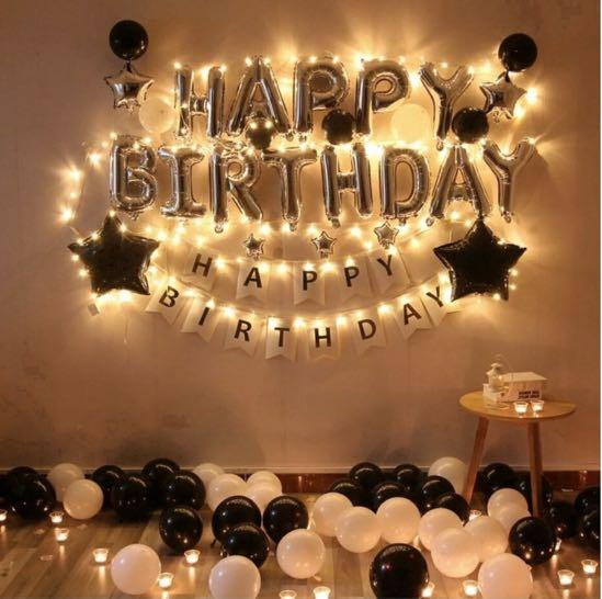 LED Lights Happy Birthday Ballons Party Decorations, Furniture, Home Decor,  Lighting & Supplies on Carousell