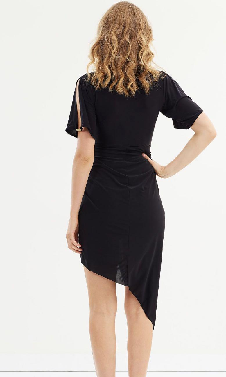 Miss selfridge split sleeve asymmetrical midi hem dress