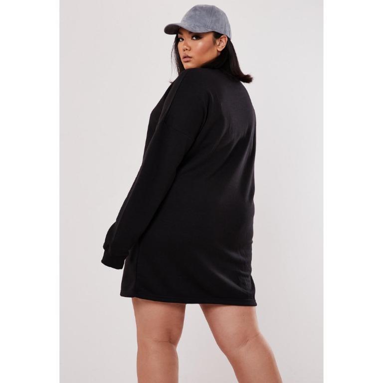 [MISSGUIDED] Black Long Sleeve Oversized Sweater Dress