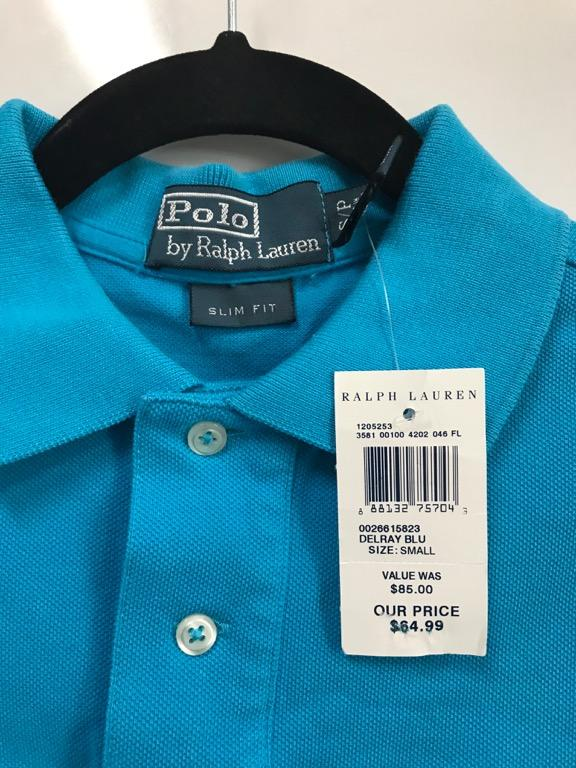 POLO RALPH LAUREN Slim Fit Polo Shirt - Small - Delray Blue