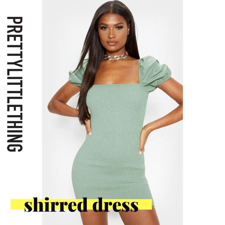 [PRETTYLITTLETHING] Sage Green Puff Sleeve Square Neck Shirred Bodycon Dress