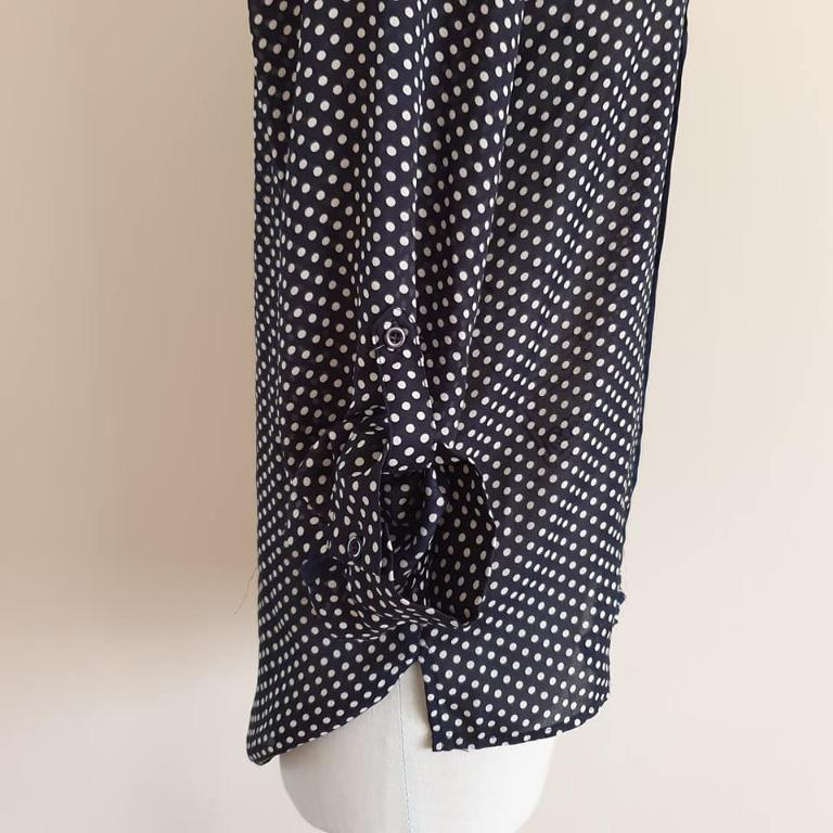 Size 10 Euc TEMT collared navy white dots dressy top