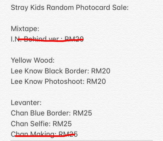 Stray Kids Photocards (Bang Chan, Lee Know and I.N.)