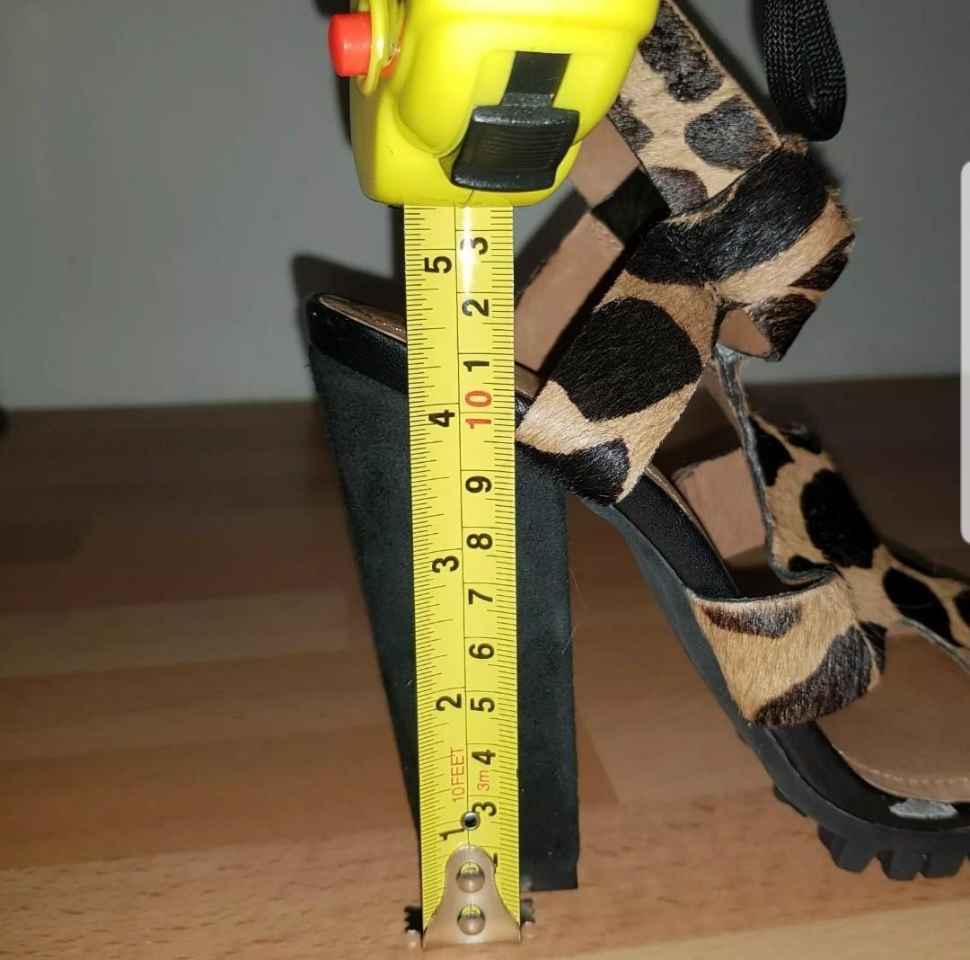 WITTNER Bertie Leopard Animal Print Fur Leather Strap Ladies Heels Size 36