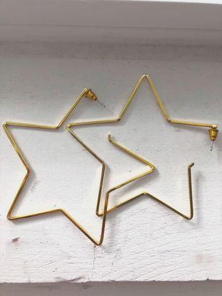 Urban Outfitters Gold star Hoop Earrings