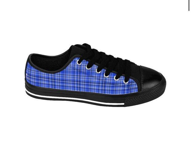 Blue Plaid Tartan Scottish Print Men's Designer Low Top Sneakers (US Size: 6-14)