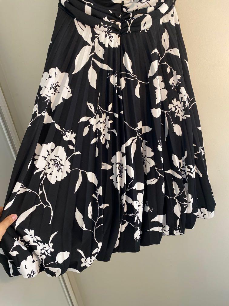 Events Halterneck Midi Dress Black and White Floral
