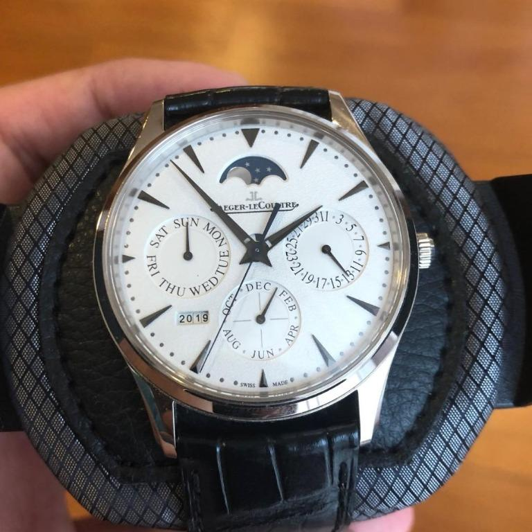 For Sale: JLC Master Ultra Thin Perpetual Calendar White Gold 39MM originally purchased from the JLC Boutique in KL. Papers and boxes included. Purchase receipt copy can be verified.