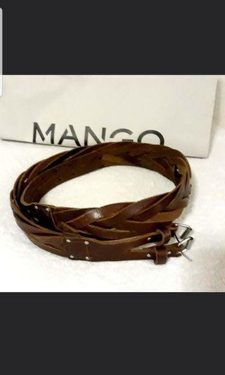 Orig MANGO Brown Braided Belt