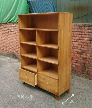 【可陽木作】原木雙抽屜七格櫃 (柚木色)/ 斗櫃 / 書櫃 衣櫃 鞋櫃 櫥櫃 收納櫃 抽屜櫃