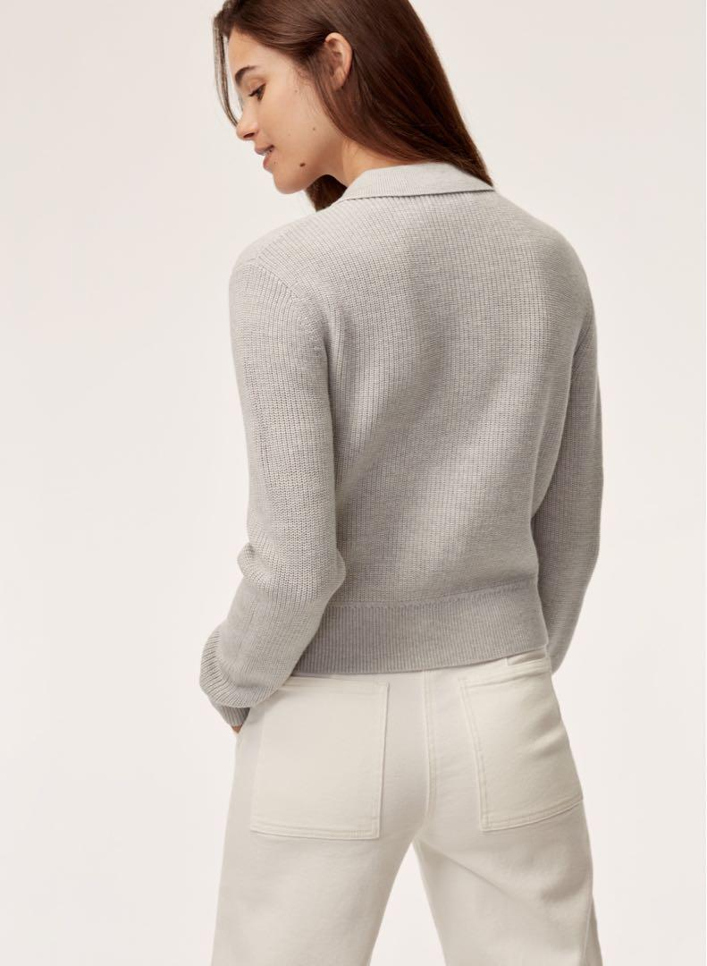 Aritzia wilfred free half button up sweater - 100% merino wool