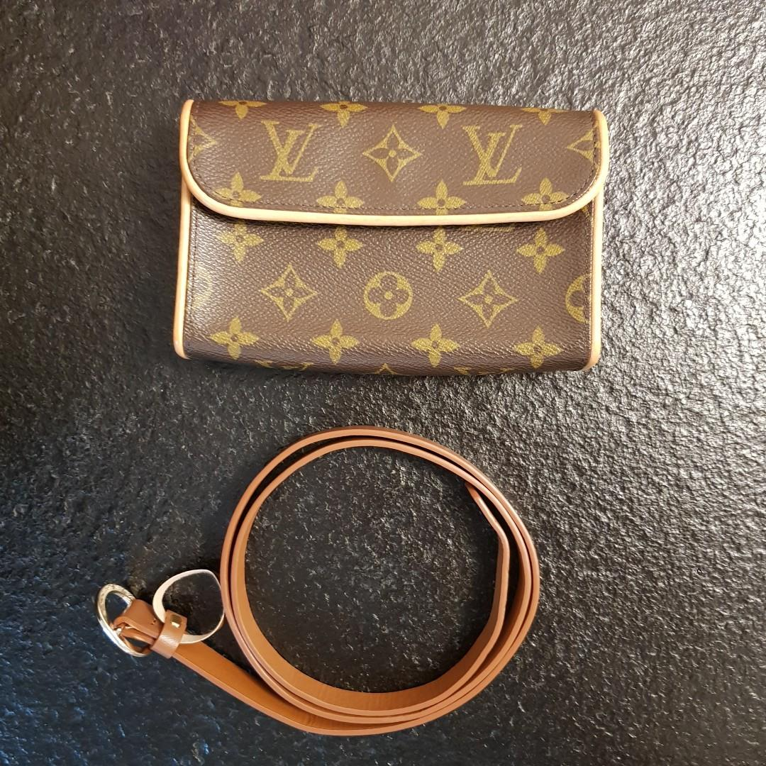 Authentic Louis Vuitton Florentine Monogram Pochette Waist Bag Fanny Pack Bumbag Crossbody Clutch