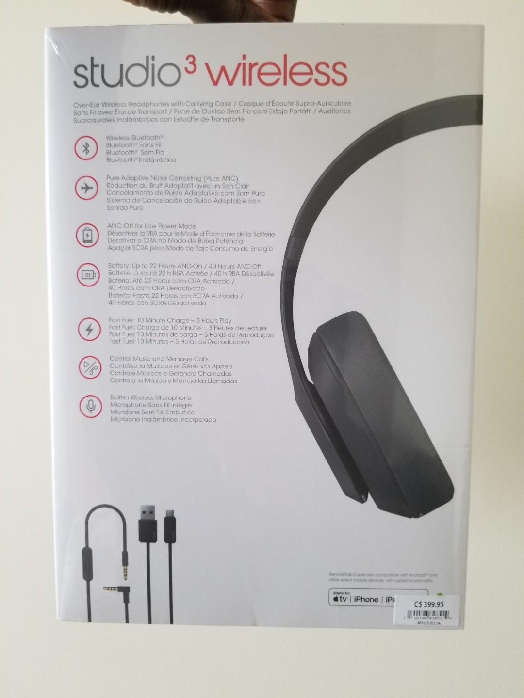 BNIB - Beats Studio3 Wireless Over‑Ear Headphones - Matte Black