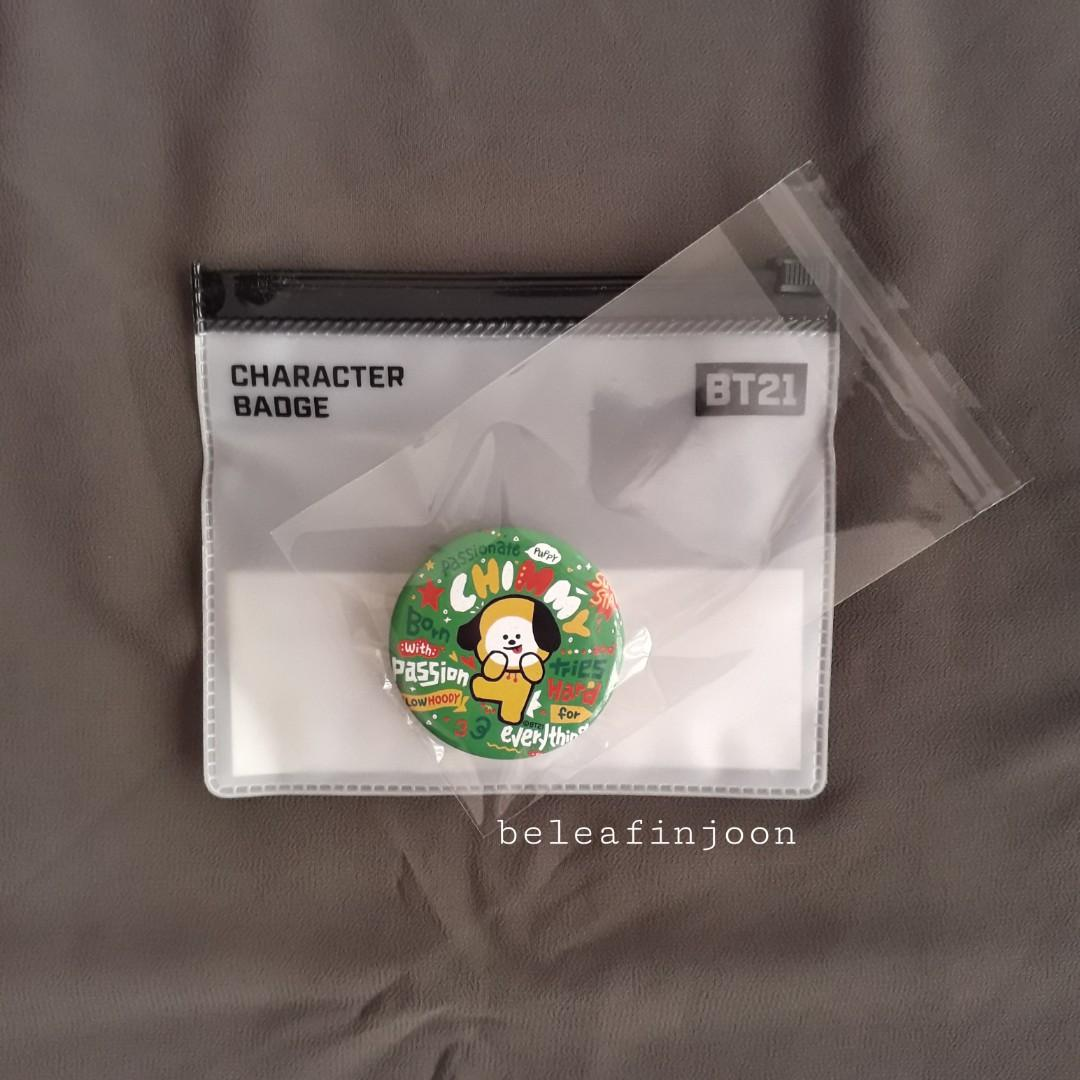 BT21 Official CHIMMY Character Badge (with transparent pouch)