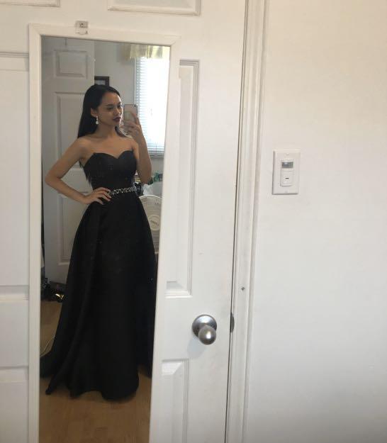 Designer Black Satin Prom Dress with Belt (Size 00-0)