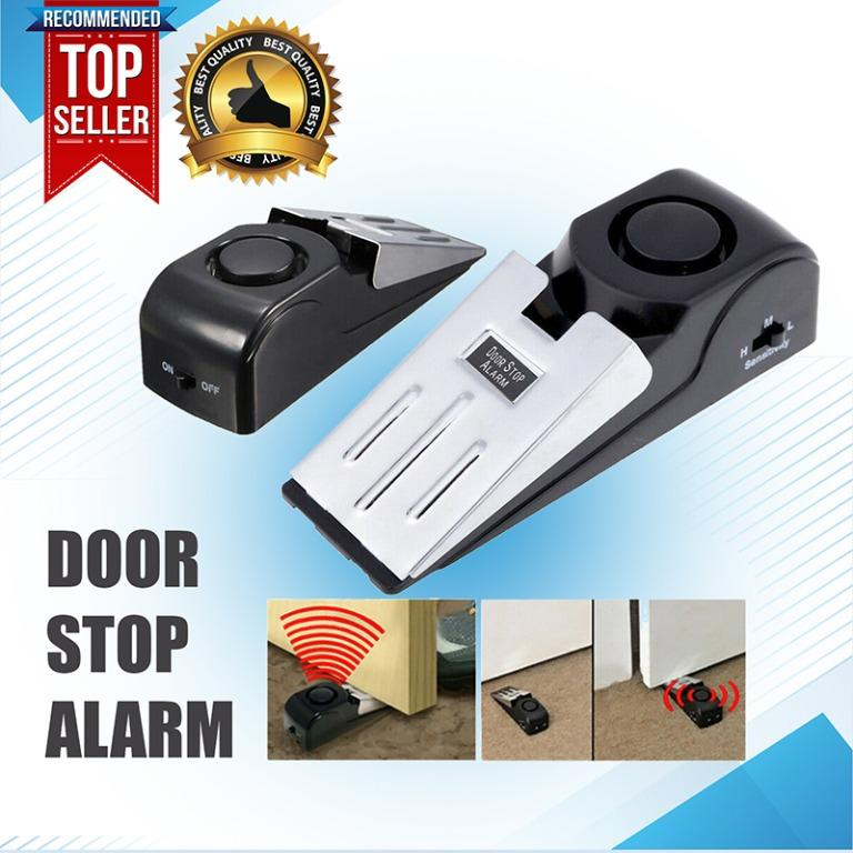 Wireless Door Stop Alarm Portable Safety Wedge Alert Home Travel Security System