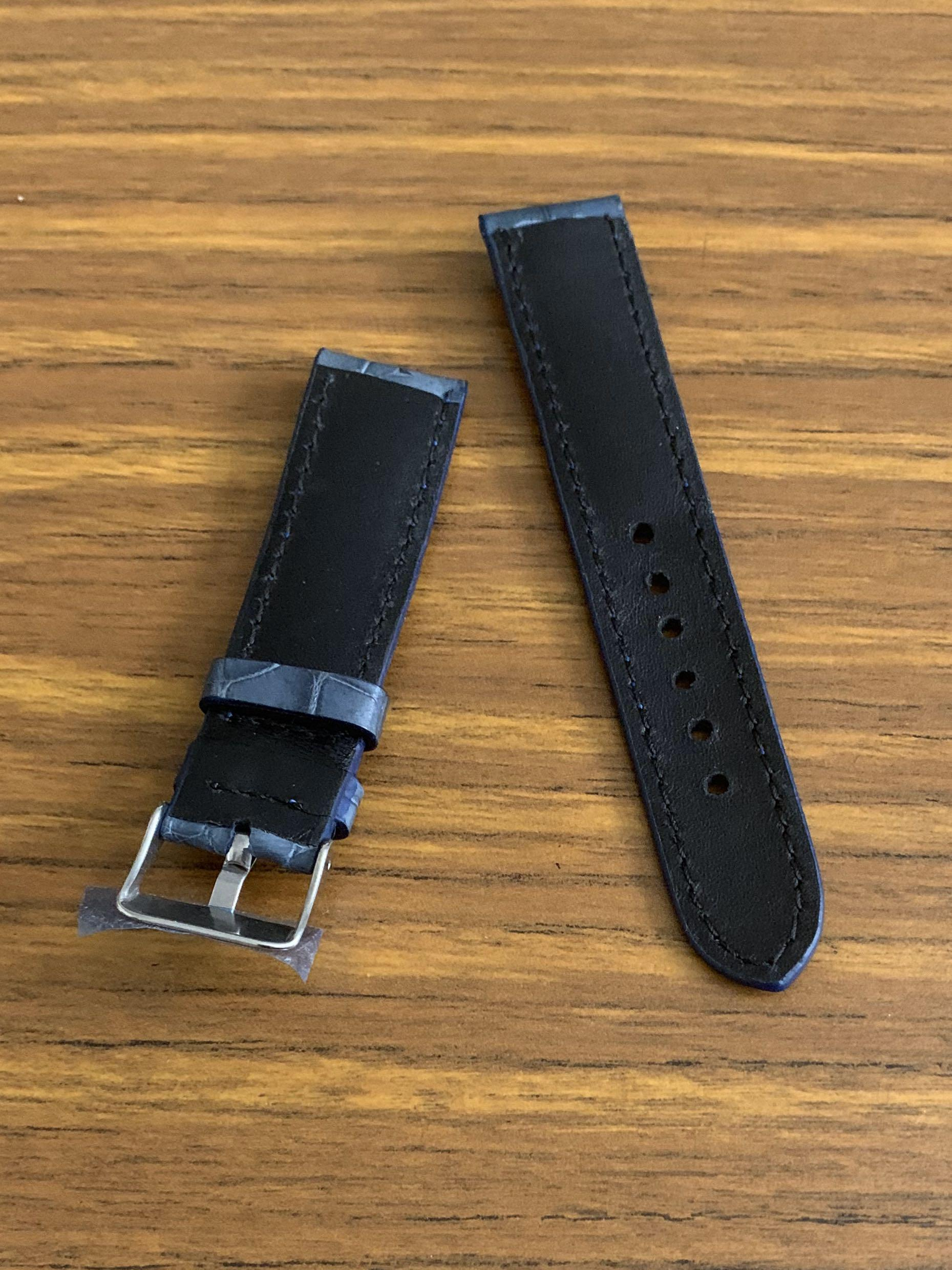 20mm/18mm Authentic Atlantic Blue Crocodile 🐊 Alligator Watch Strap (only one piece - once sold gone forever 😊) (Standard length: L-120mm, S-75mm)