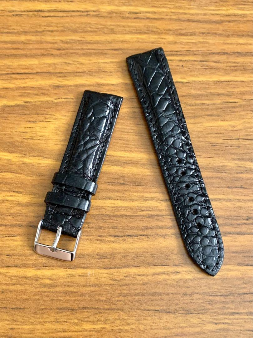 [DISCOUNTED] 20mm/18mm Authentic Ebony Black Alligator 🐊 Crocodile (rugged onshore outback rugged grains) Watch Strap (one of its kind 😊) (Standard length: L-120mm, S-75mm)
