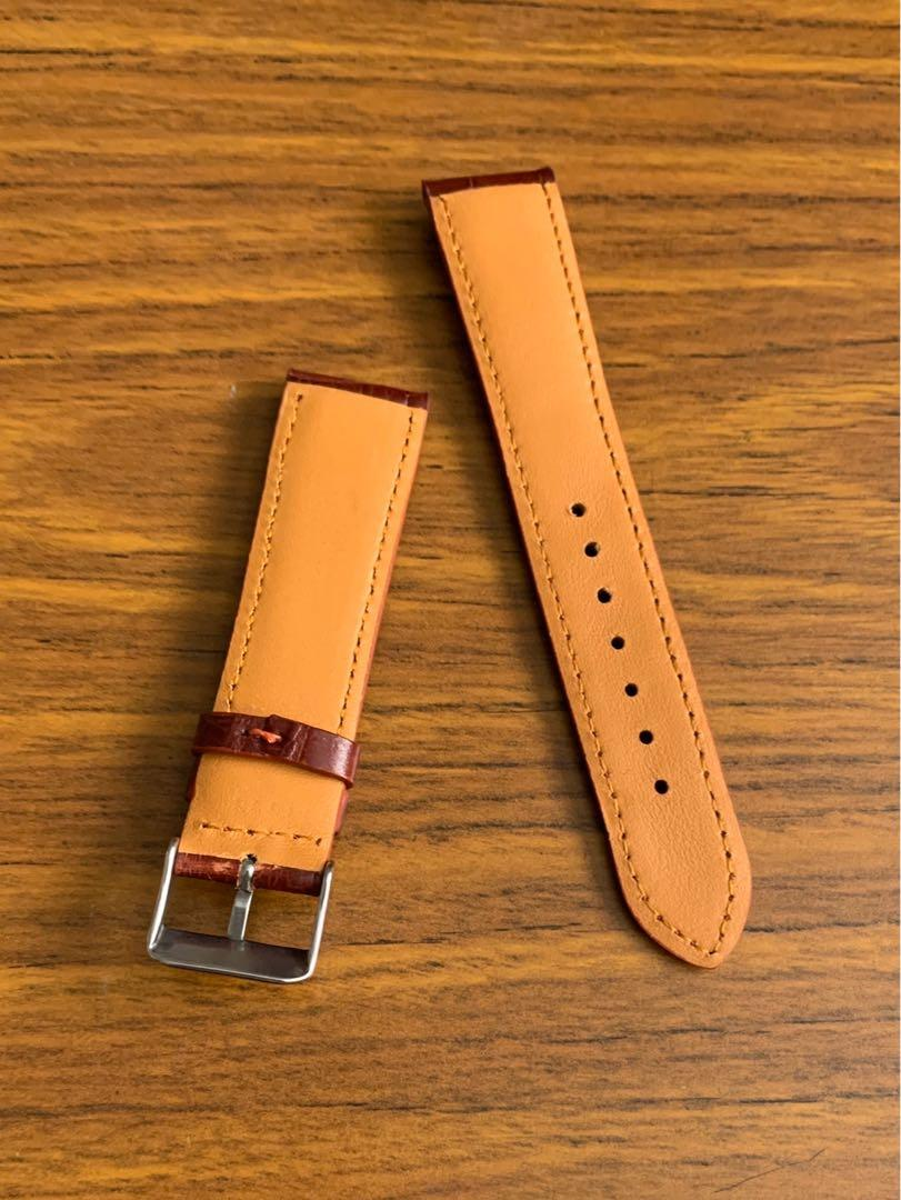 20mm/18mm Authentic Elegant Burgundy Crocodile 🐊 Alligator Watch Strap (smooth classy grains- one of a kind-once sold gone forever 😊) (Standard length: L-120mm, S-75mm)