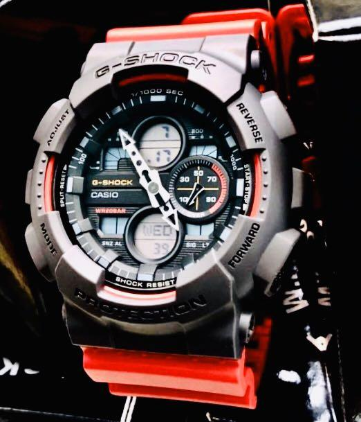 NEW🌟EDITION : GSHOCK UNISEX DIVER SPORTS WATCH : 100% ORIGINAL AUTHENTIC CASIO G-SHOCK : GA-140-4A / CORAL RED + GREYISH