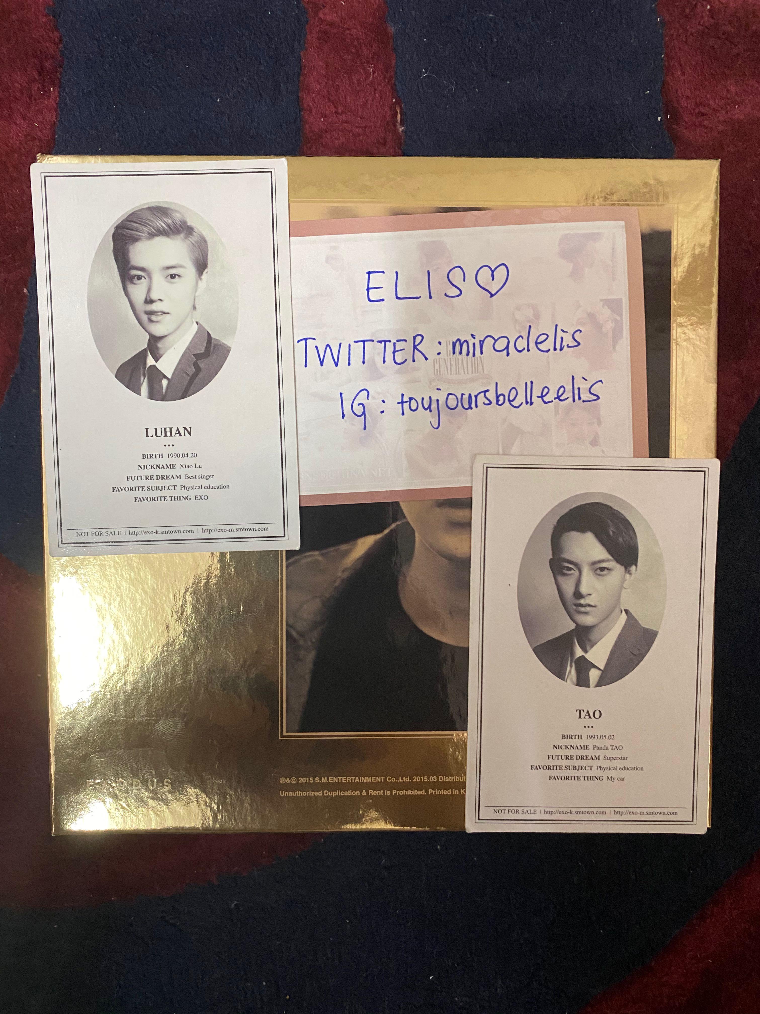 [OFFICIAL PHOTOCARD] LUHAN & TAO - EXO 'XOXO - WOLF' Album