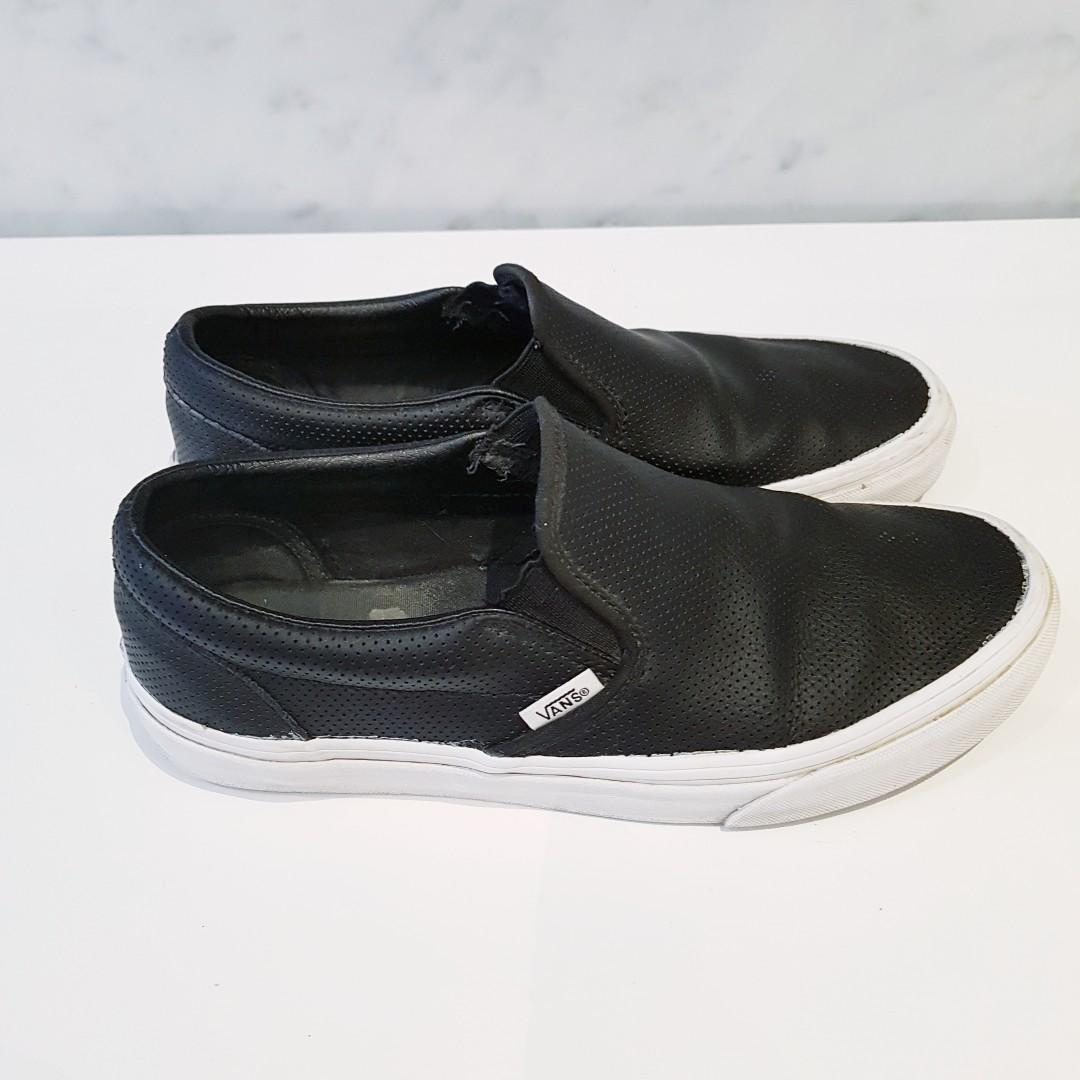 Vans Asher Black Leather Slip-on Women's Shoes - Size 8.5