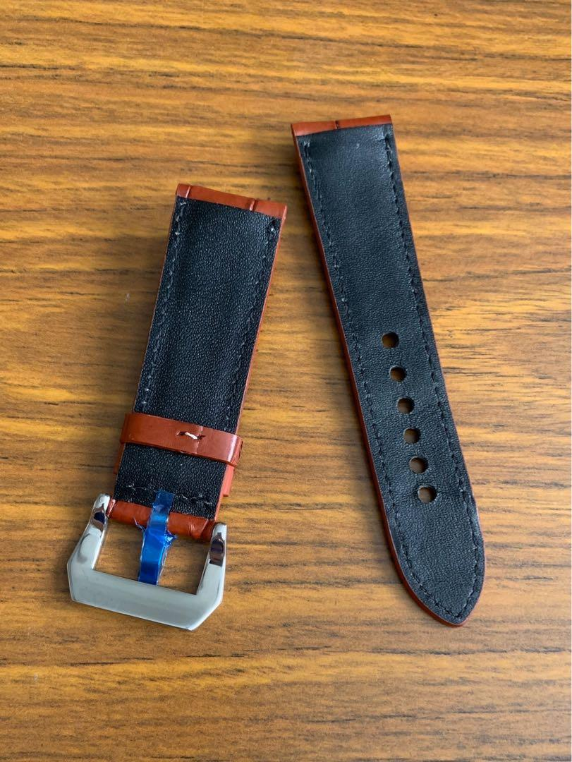 24mm/22mm Authentic Classy Brown Crocodile 🐊 Alligator Watch Strap with Ecru White Stitching (Standard length: L-120mm, S-75mm)
