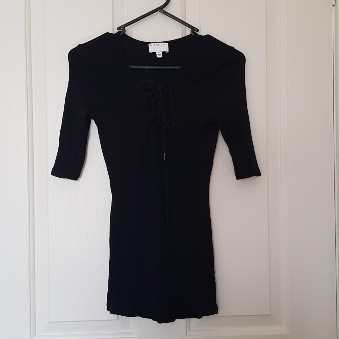 Witchery Black Ribbed Lace-Up 3/4 Sleeved Top Size XS/6