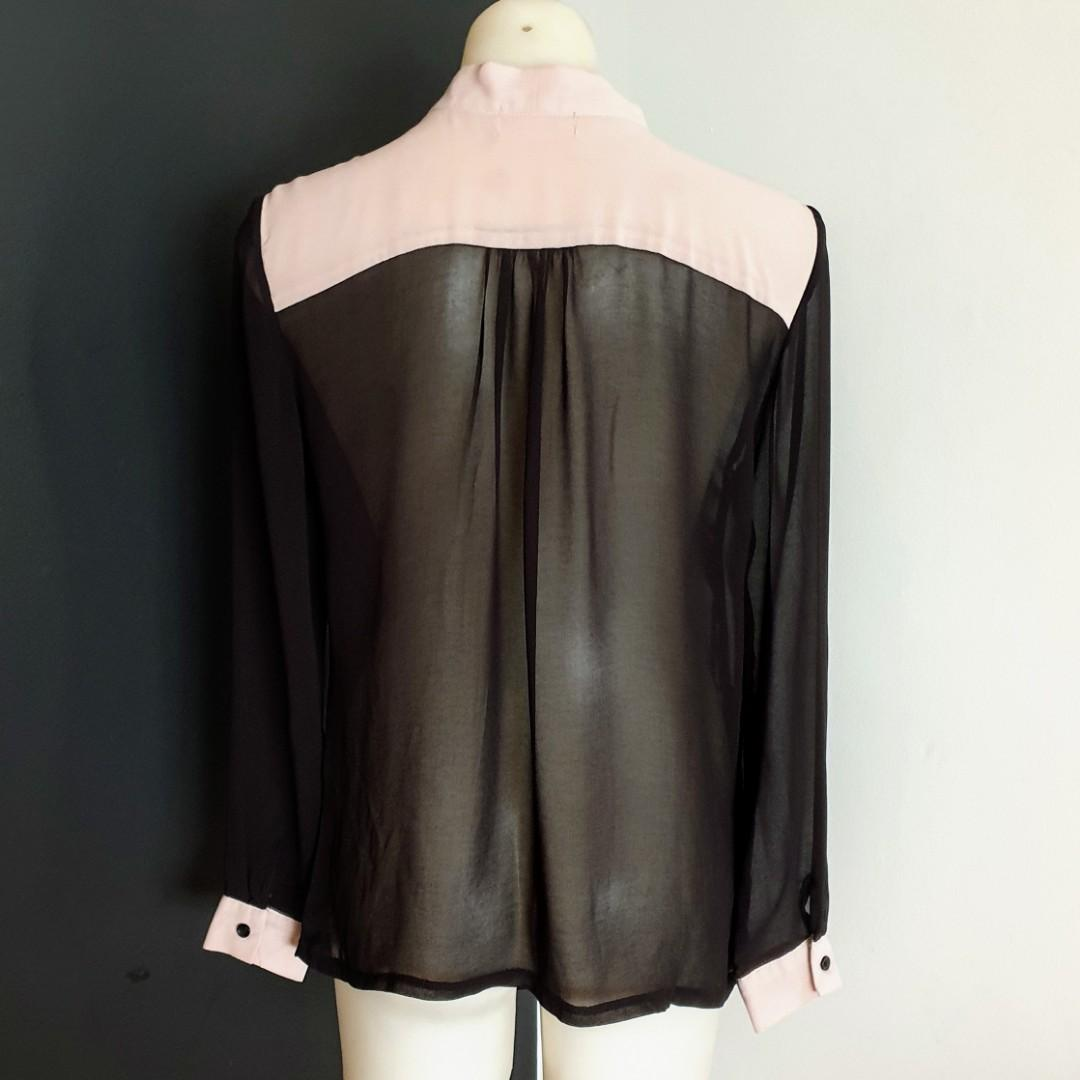 Women's size S 'STRAWBERRY' Gorgeous black and nude semi sheer long sleeve shirt