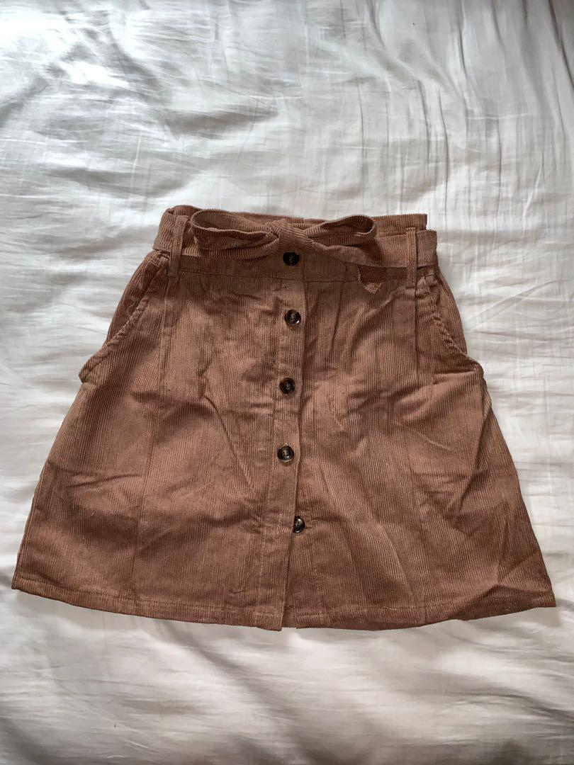 ZAFUL  Brown Button Fly Corduroy Belted Paperbag Skirt