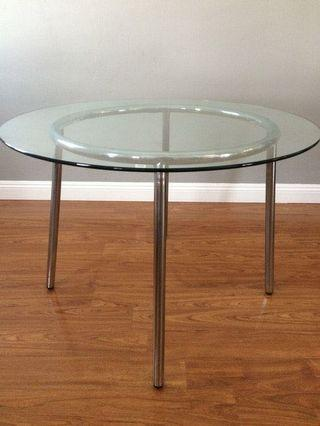 Round glass table from Ikea