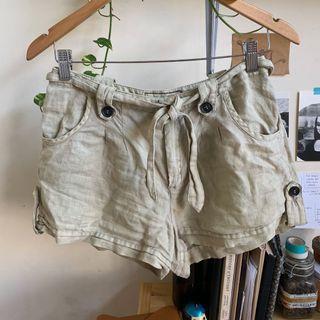 Mango Beige Linen Shorts