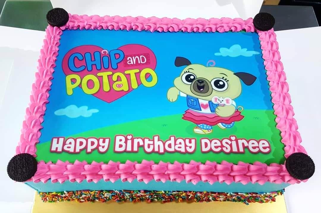 Stupendous Chip And Potato Customise Photo Cake Food Drinks Baked Goods Personalised Birthday Cards Veneteletsinfo