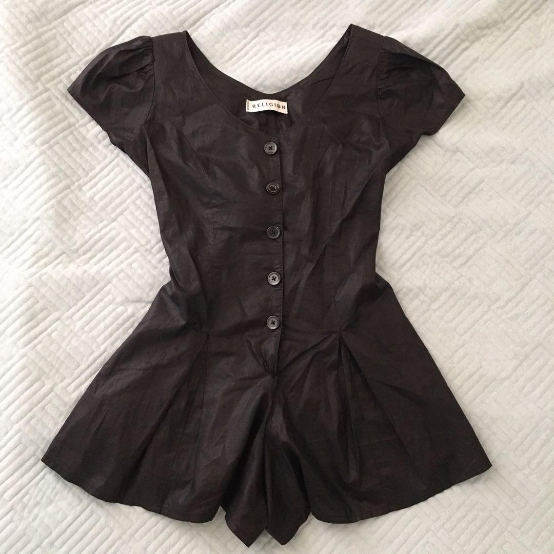 (DAMAGED) Religion size 8 black wax cotton button up playsuit
