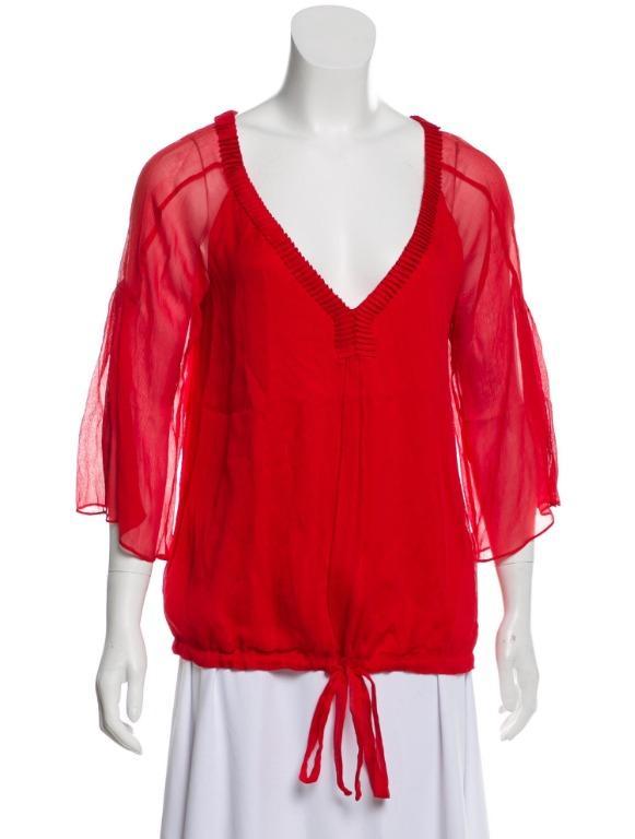 DIANE VON FURSTENBERG Silk Plunge Neckline Blouse (Est Value $365)